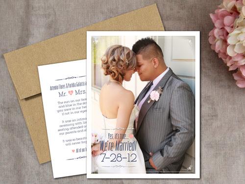 Custom Design: Art + Yuri Modern Vintage Wedding Announcement Card