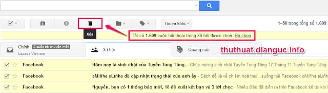 Cách xóa tất cả thư trong gmail nhanh