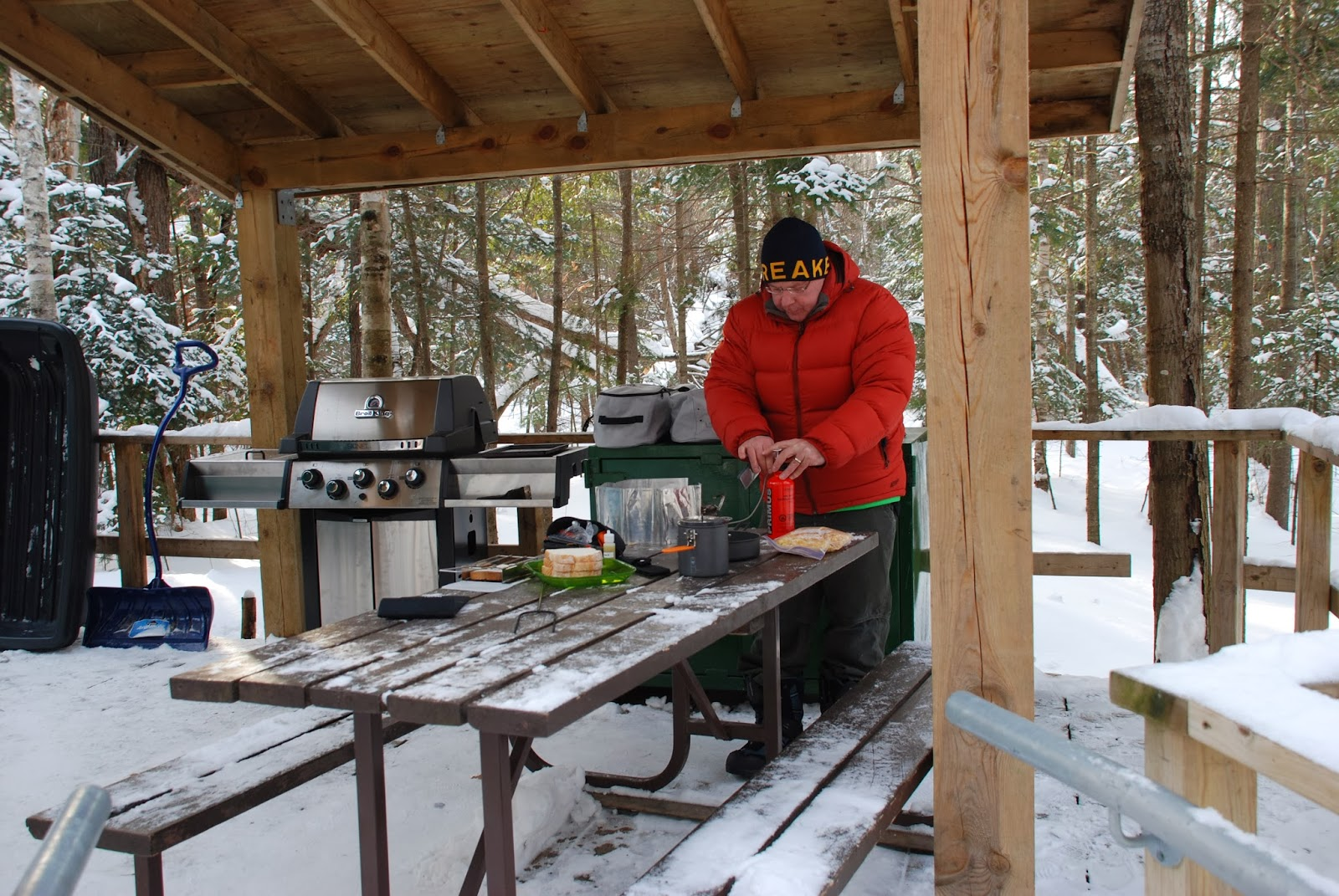 cooking outside during winter at a yurt