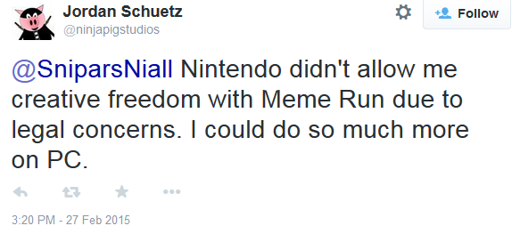 Ninja Pig Studios Meme Run Nintendo creative freedom legal concerns Jordan Schuetz