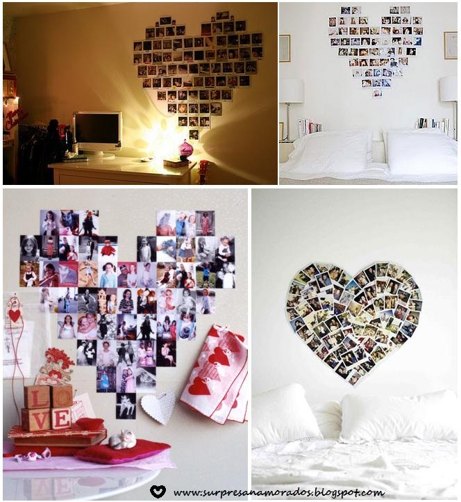 coração de fotos para decoração romântica do quarto