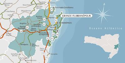 Mapa da região metropolitana de Florianópolis