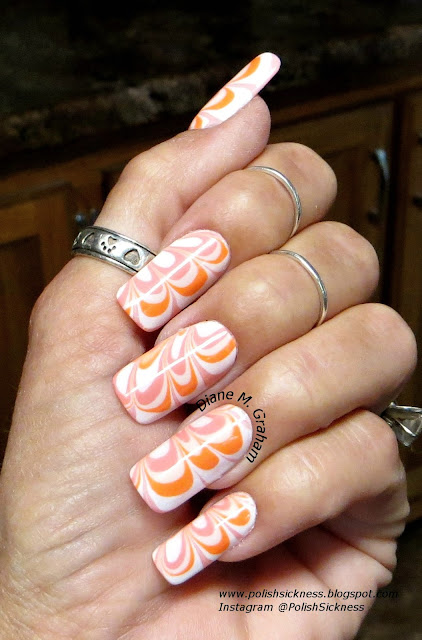 Sally Hansen Hard to Get, Cult Hollywood Hills, Sally Hansen Peach Beach, Square Hue Collins Avenue, water marble