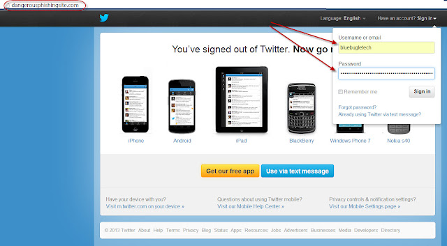 Twitter phishing website
