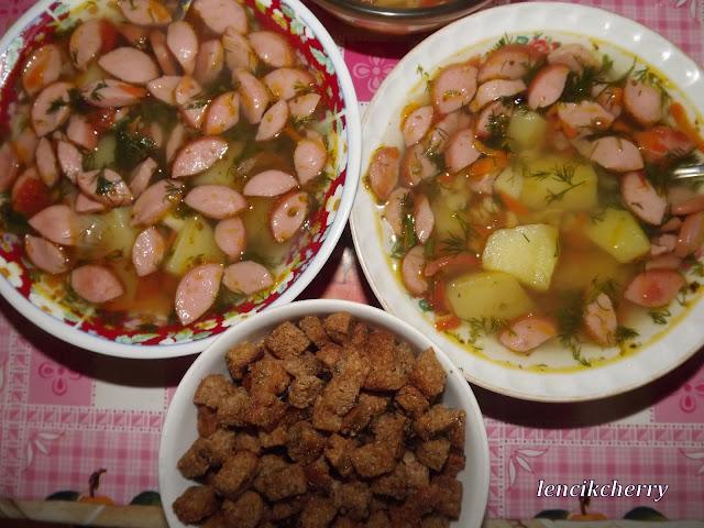 суп горох сосиски