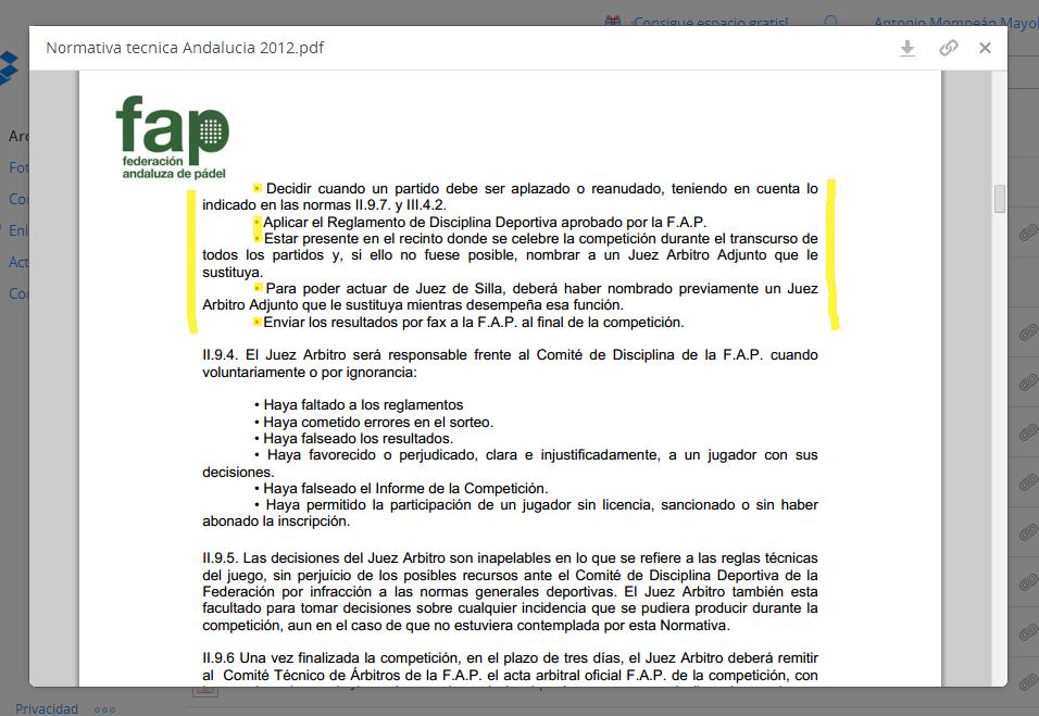 Extracto de la Normativa Técnica de Andalucía 2012, de la Federación Andaluza de Pádel, donde se señalan las funciones del Juez Árbitro