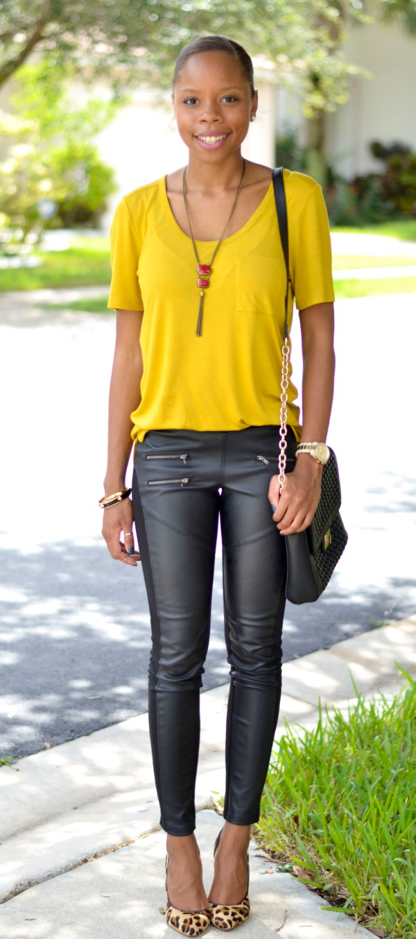 Relaxed Tee | Vegan Leather Leggings | Leopard Pumps