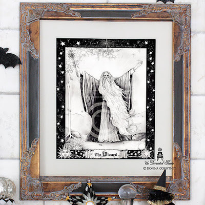 The Wizard Art Print : Halloween Decorating Black and White © Donna Courtney ~ The Decorated House