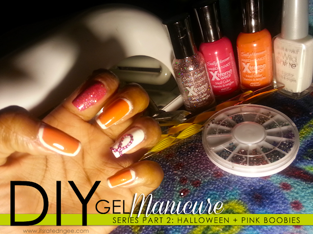 diy gel manicure halloween breast cancer awareness