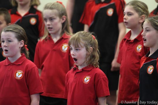 Haumoana School Choir, performing at The Kids Sing Primary and Intermediate Schools Choir Festival, organised by New Zealand Choral Foundation, at Heretaunga Intermediate School, Hastings. photograph