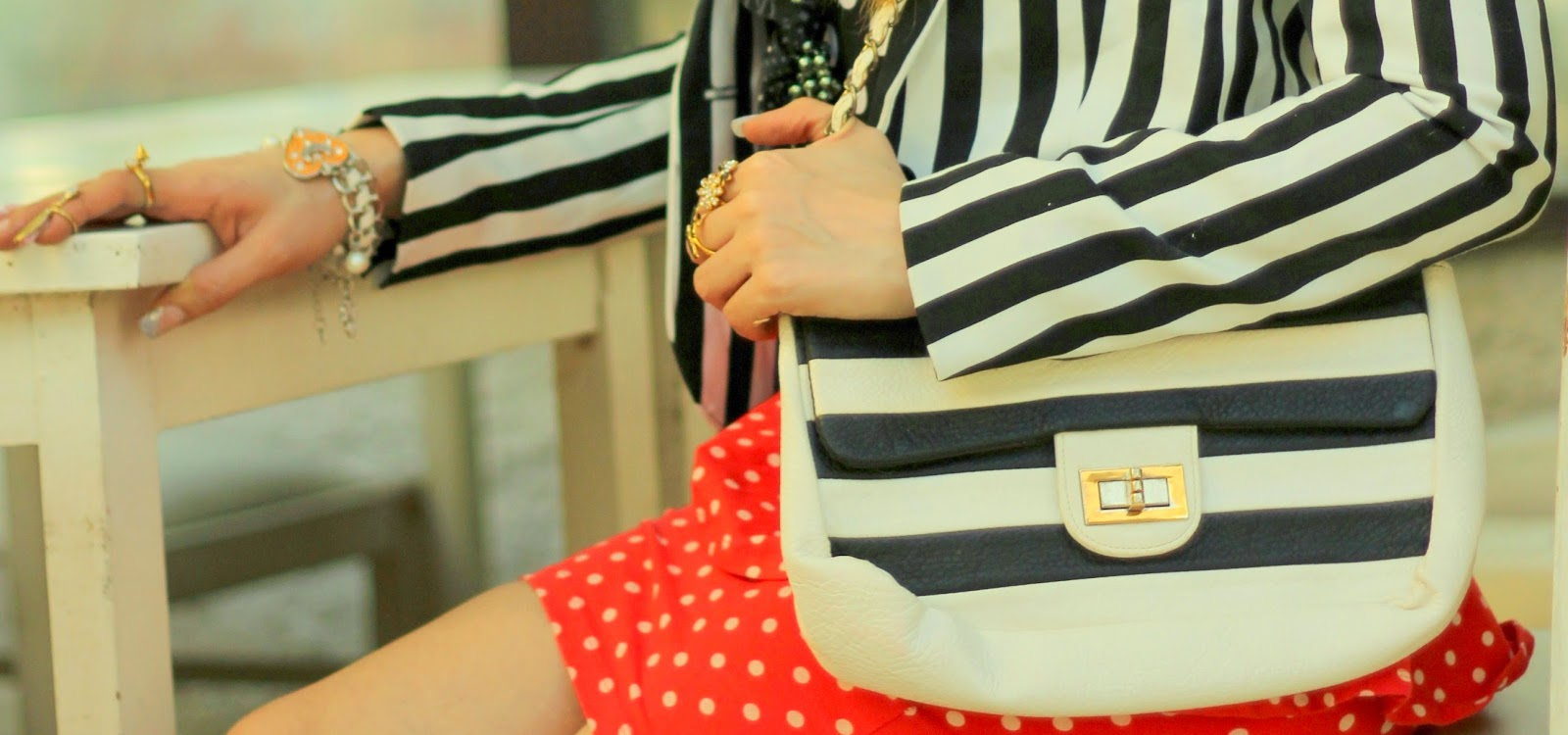 Black & White Stripe Bag