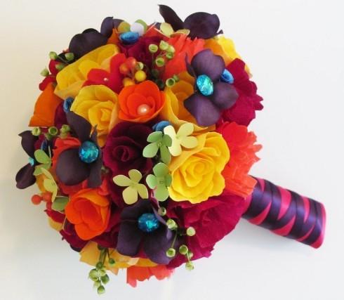 DIY Paper Flower Bridal Bouquets