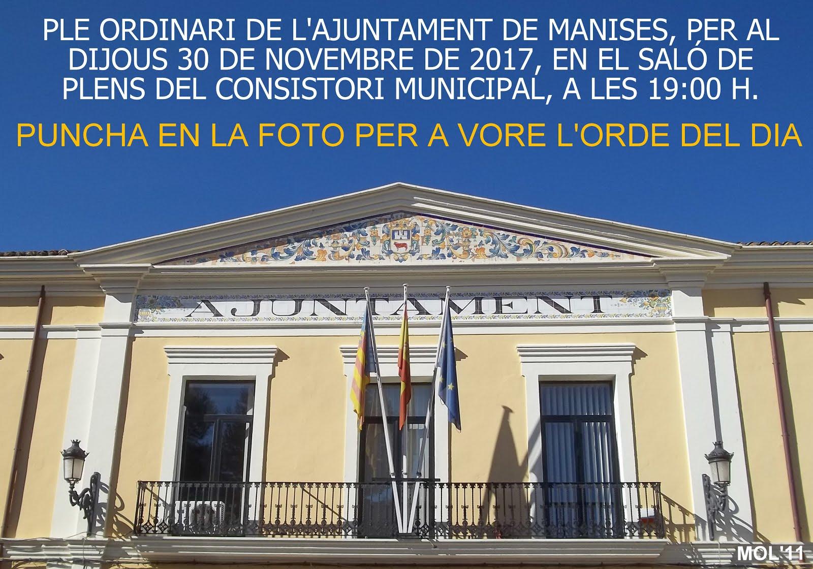30.11.17 PLE ORDINARI DE L'AJUNTAMENT DE MANISES DEL MES DE NOVEMBRE
