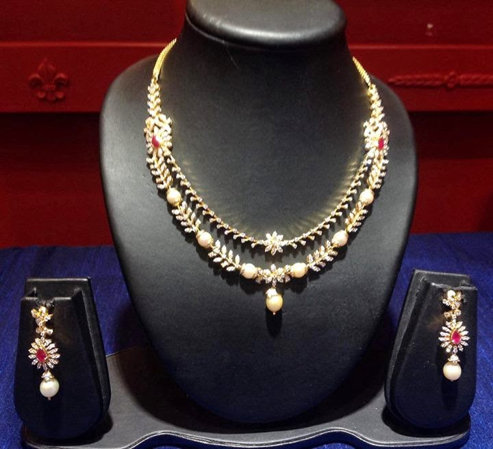 Indian Jewellery Designs Diamond Necklace with south sea pearls