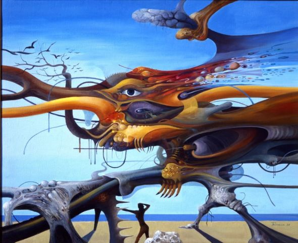 Vasko Taskovski painting surreal psychedelic animal landscape