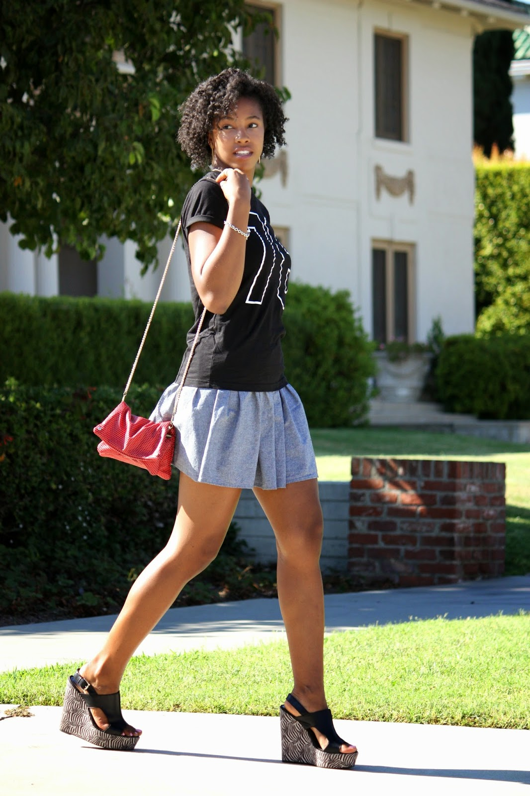 Wearing HM graphic t shirt American Apparel skirt HM bag Tiffany Co bracelet and Carlos wedges