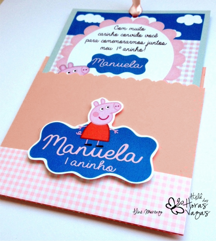 convite artesanal aniversário infantil peppa pig rosa azul verde menina 1 aninho criança festa