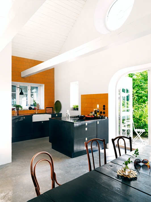 Orange and Black Kitchen Tiles Designs