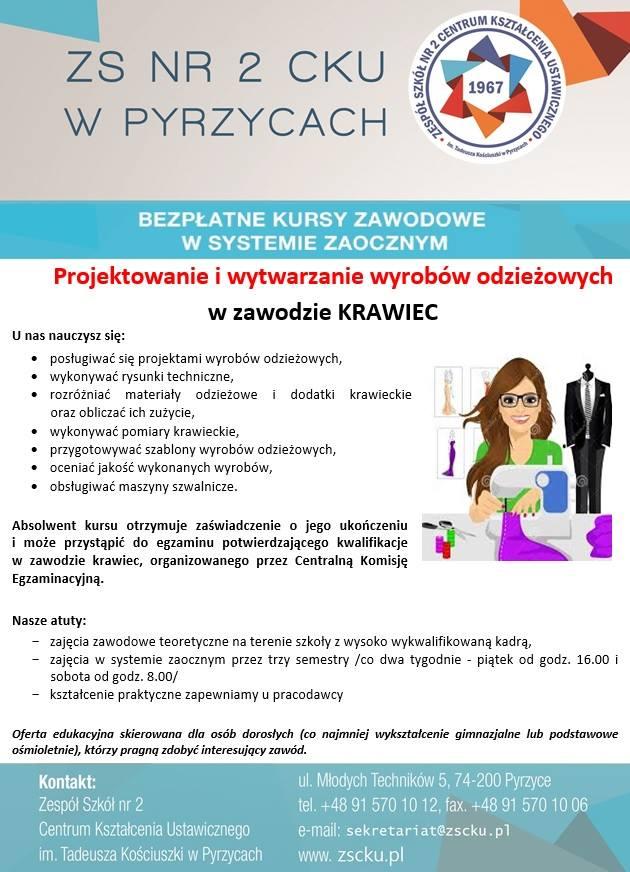 DARMOWA 2-letnia szkoła krawiecka dla dorosłych w Pyrzycach
