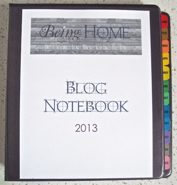Being Home blog notebook.