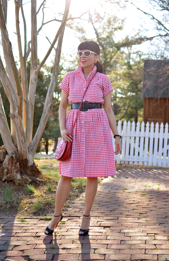 Outfit with gingham dress