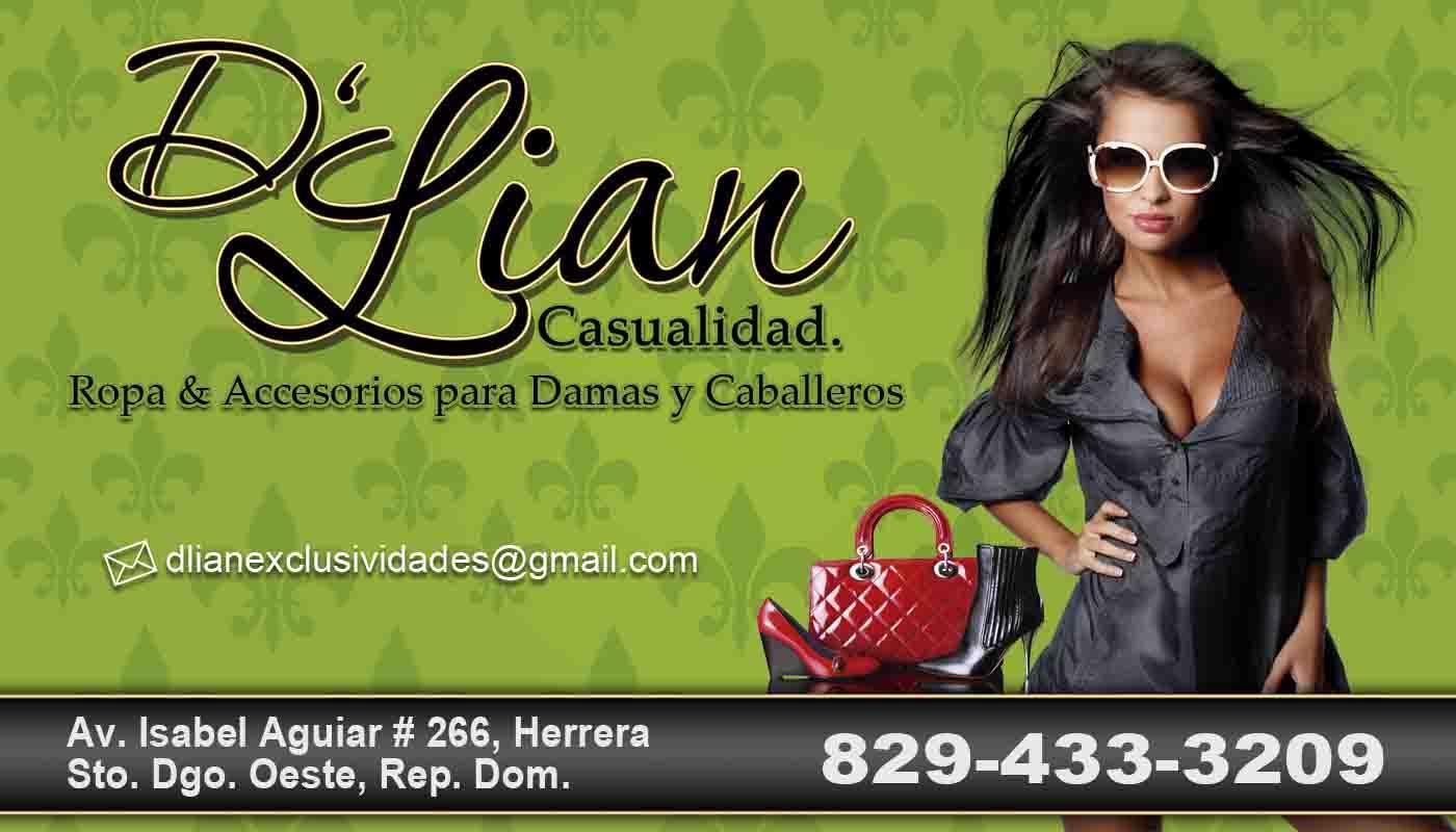 lineas graficas  tarjetas y flyer promocional tienda de ropa