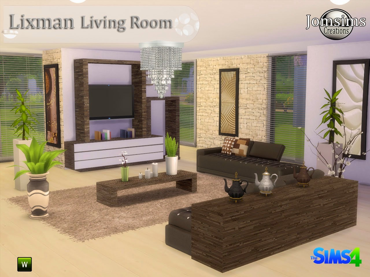 My sims 4 blog lixman living by jomsims for Living room sims 4