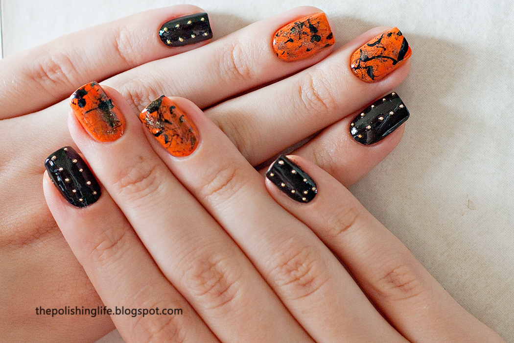 Splatter and studs punk rock manicure