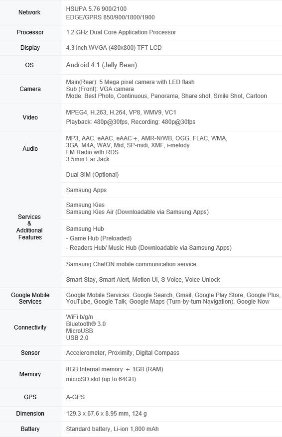 Configurações do Galaxy Core
