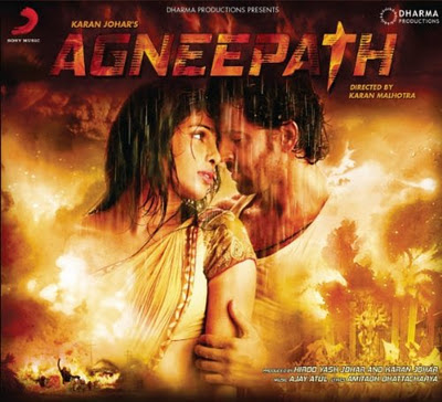 Bollywood-Movie-Agneepath-2012 directed by Karan Johar and staring by Hrithik Roshan, Priyanka Chopra, Sanjay Dutt Poster