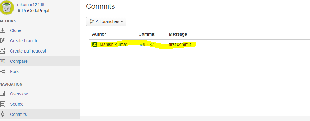 check commit in git bash