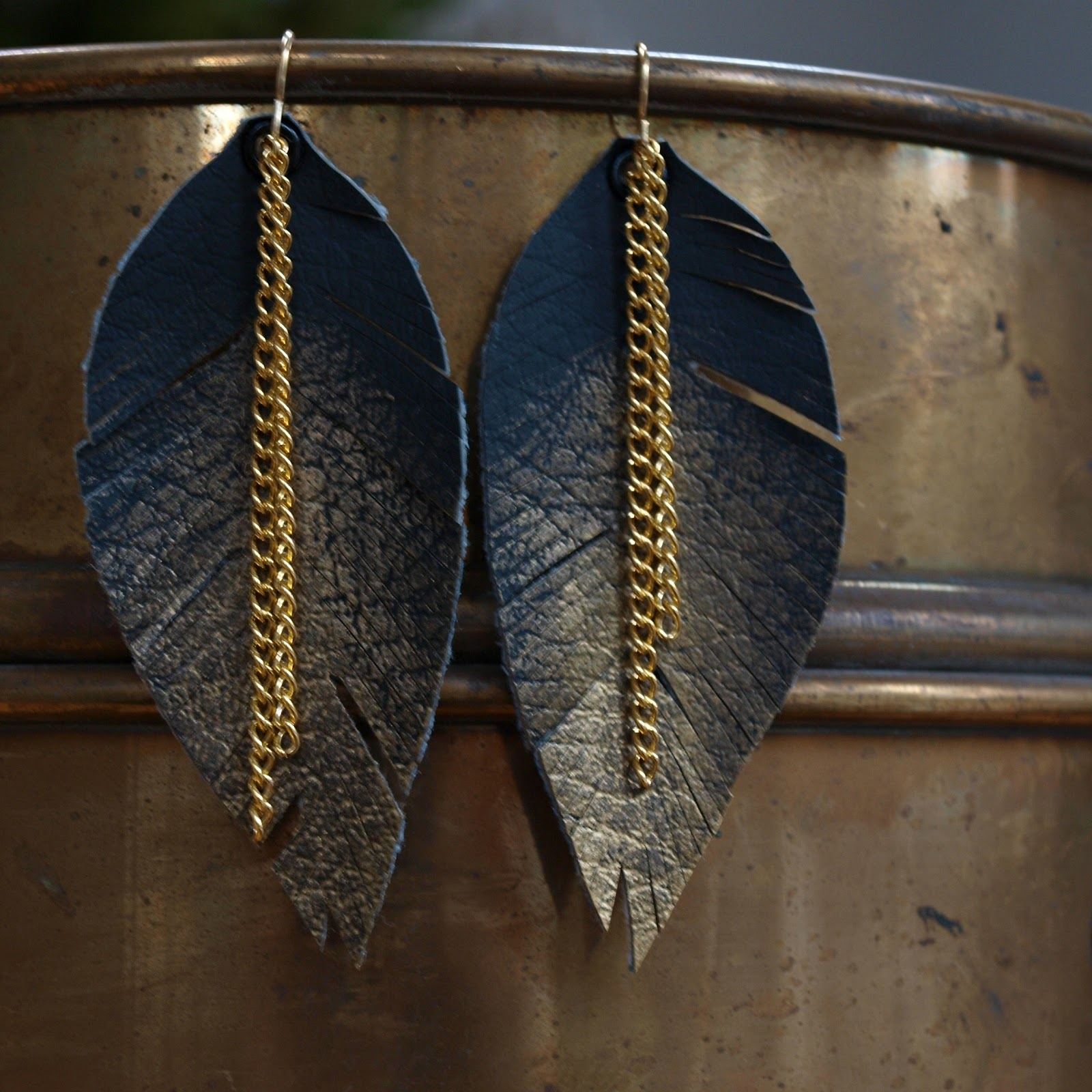 elemental carbon leather gold feather earrings diy