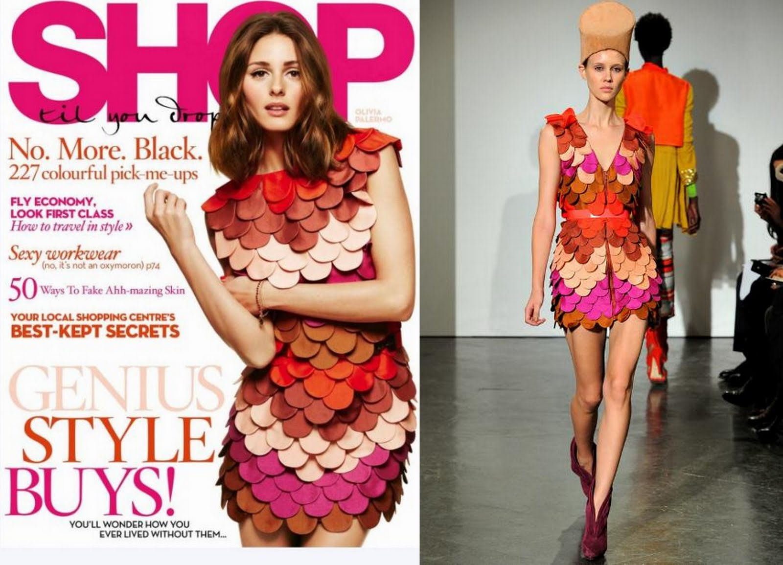 3375f08ac372 This has got to be the most eye catching cover for August 2011. How  adorable is Olivia s Sass   Bide dress  It features dozens of layered  leather ...