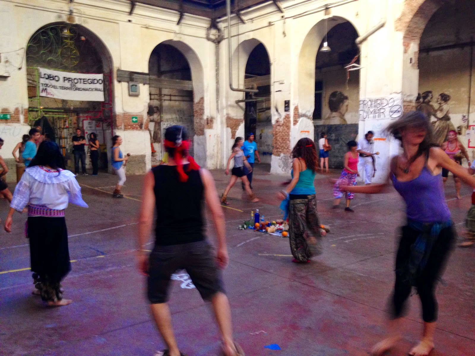 Dancing activities inside La Tabacalera