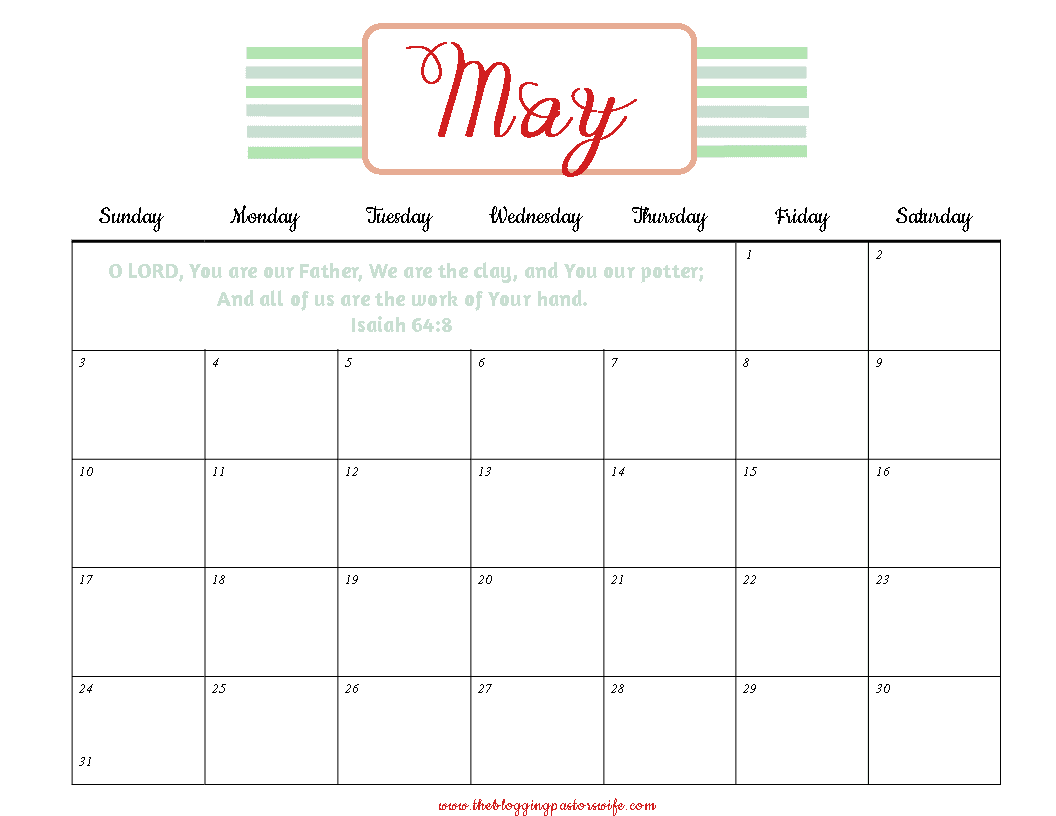 The blogging pastors wife printable calendar may 2015 for Pinterest printables