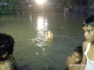 Ganpati Visarjan in an artificial lake in Mumbai