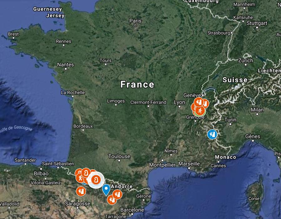 Carte interactive des sorties