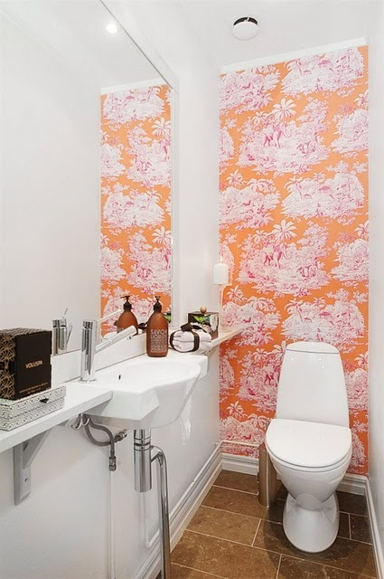 I love this modern use of a toile wallpaper