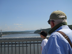 Fred & Peter view  the Hudson from the newly completed Walkway, the old  Poughkeepsie RR  bridge.