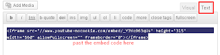 how to add video code inside html