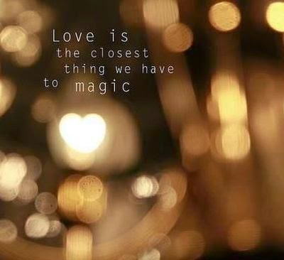 """Love is the closest thing we have to magic."" ~ Unknown; Picture of a heart bokeh."