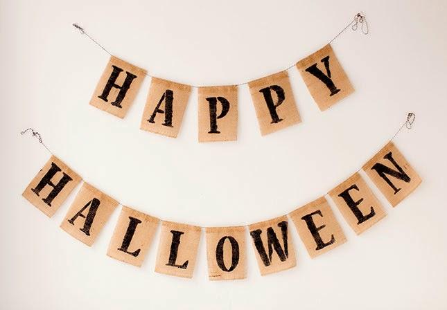 Letrero Pintado Happy Halloween con Yute