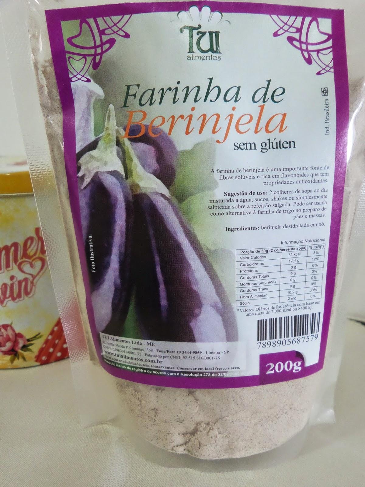 Produtos para emagrecer: Farinha de Berinjela Tui, rica em fibras