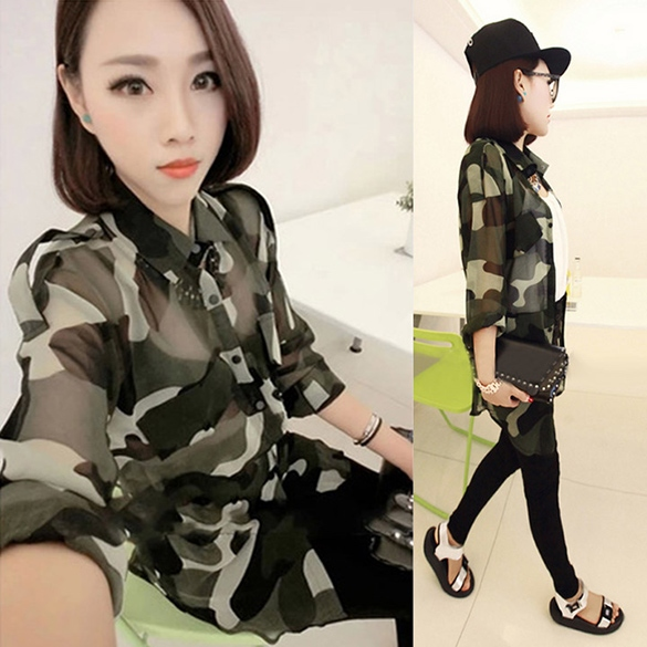 Dresslink - Camisa em chiffon em padrão militar verde tropa