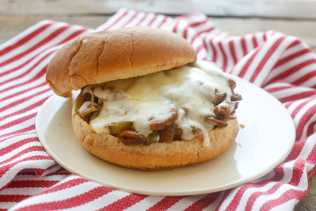 Philly Cheesesteak Sloppy Joes recipe for a quick and easy dinner that's a far cry from the average sloppy joe! get the recipe at barefeetinthekitchen.com