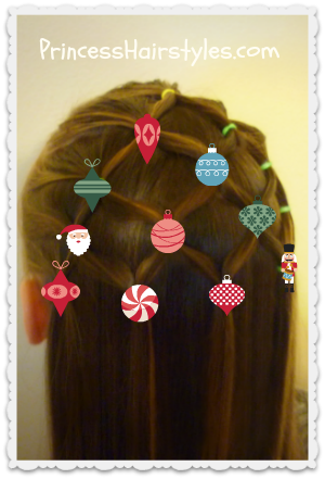 Christmas tree hairstyle with lights or ornaments