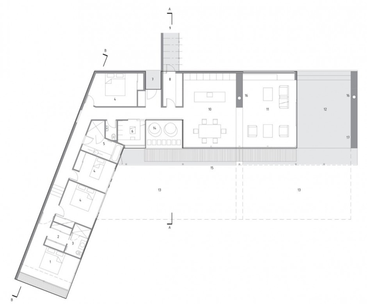 Floor plan of Wooden house in New Zealand