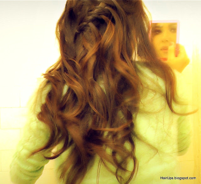 thumnb+fish+2 HOW TO WATERFALL BRAID HAIRSTYLES, FRENCH FISHTAIL BRAID HALF UP UPDO HAIRSTYLE WITH CURLS ON LONG HAIR