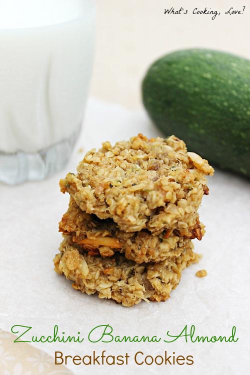 Zucchini Banana Almond Breakfast Cookies - Whats Cooking Love?