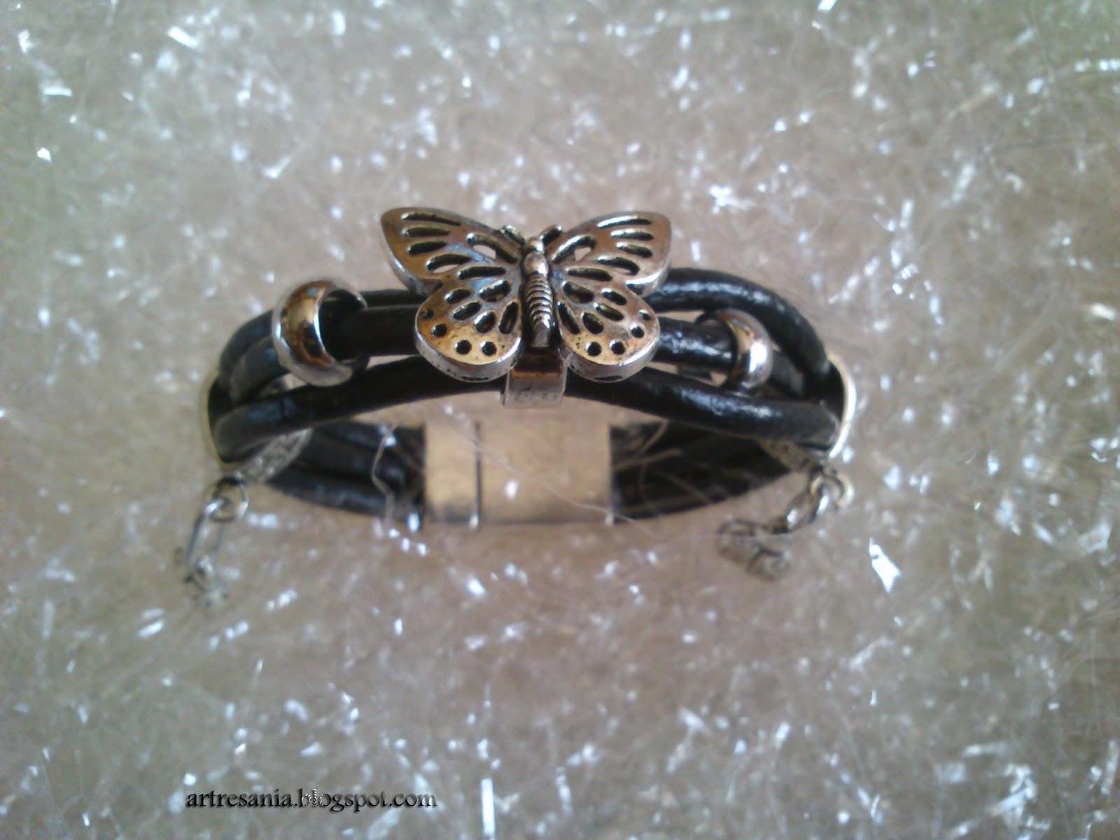 Pulsera cordon cuero-pulsera de mariposa-zamak pulsera-cuero verde,zaul negro